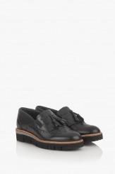 Черни дамски обувки естествена кожа Бамби