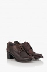 Кожени дамски обувки Алия тъмно кафяво