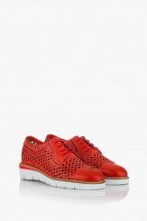 Червени дамски обувки с връзки Санта