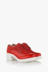 Червени дамски обувки Джули с връзки