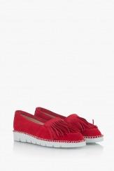 Дамски велурени  обувки в червено Джери