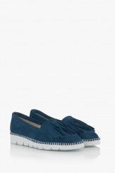 Сини дамски велурени обувки Джери с ресни