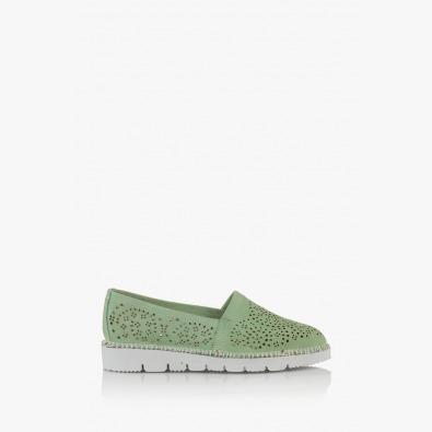 Зелени дамски обувки с перфорация Джери