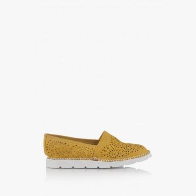 Дамски велурени обувки в жълто Джери