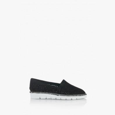 Дамски перфорирани черни обувки Джери
