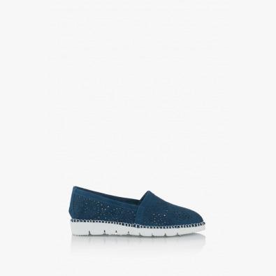 Сини дамски велурени обувки Джери с перфорация