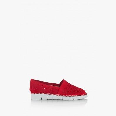 Червени дамски велурени обувки Джери