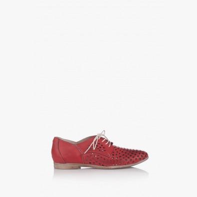 Червени дамски перфорирани обувки Канди