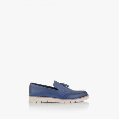 Сини мъжки кожени обувки Калвин