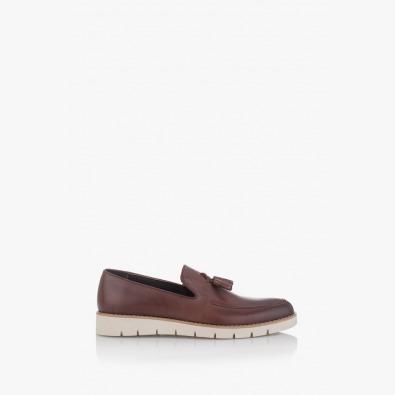 Кожени мъжки обувки в кафяво Калвин