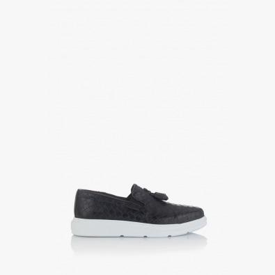 Черни мъжки кожени обувки Антани