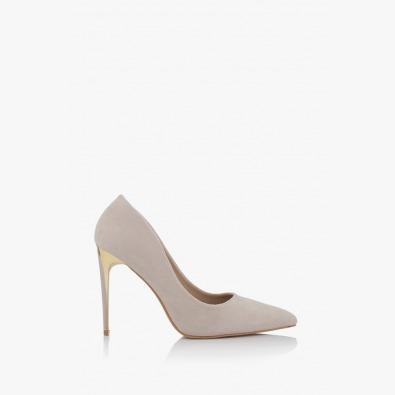 Бежови дамски обувки с висок ток Наоми