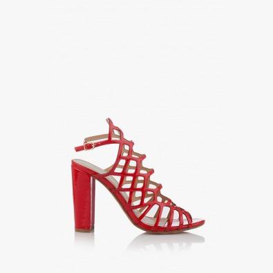 Червени дамски сандали на висок ток Клое
