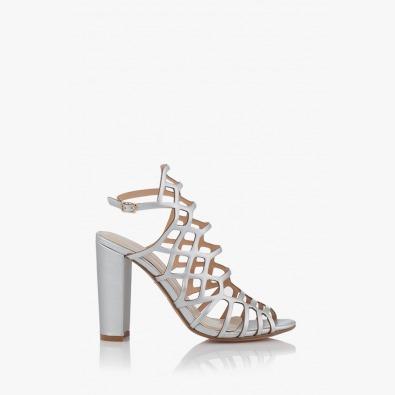 Дамски сандали на висок ток в сребро Клое
