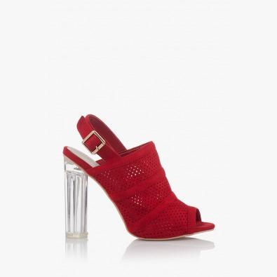 Дамски сандали с перфорация в червено Катлин
