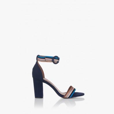 Дамски сандали на висок ток в синьо Габи