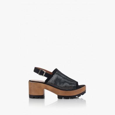 Дамски сандали на платформа в черно Ирене