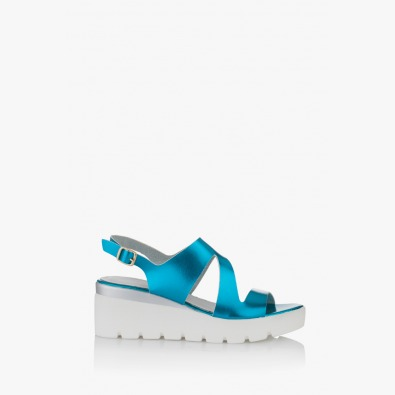 Сини дамски сандали с платформа Инес
