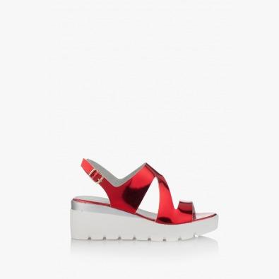 Дамски сандали с платформа в червено Инес