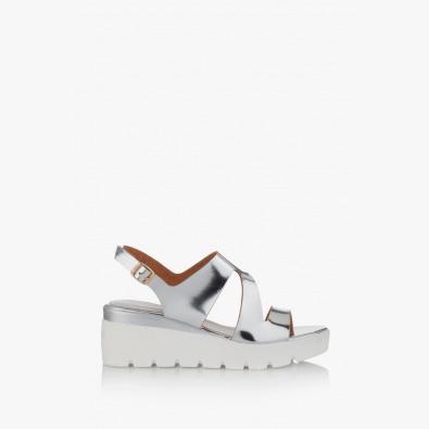 Сребристи дамски сандали на платформа Инес