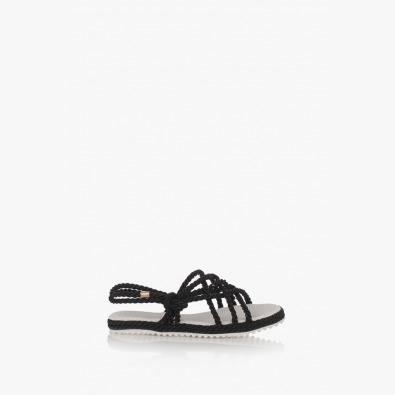 Дамски равни сандали в черно Флора