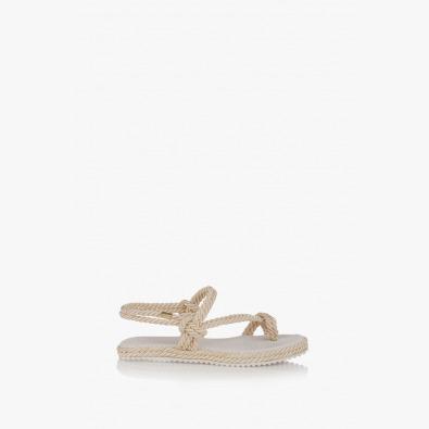 Дамски равни сандали в бежово Флора