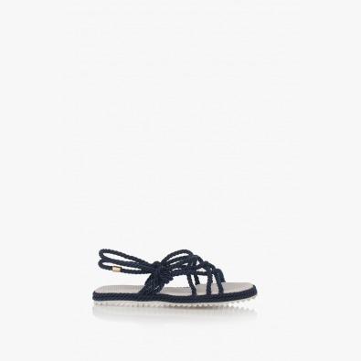 Сини дамски сандали Флора на ниско ходило