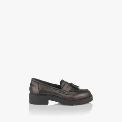 Дамски кожени обувки в сиво Мона