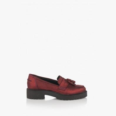 Кожени дамски обувки Мона в бордо