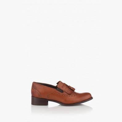 Кожени дамски обувки в цвят карамел Александрия