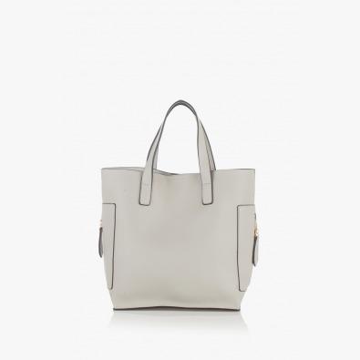 Елегантна дамска чанта в светло сив цвят Нанси