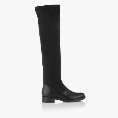 Дамски стреч-чизми в черно Бранди