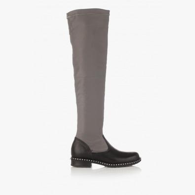 Дамски стреч-чизми в сиво Бранди