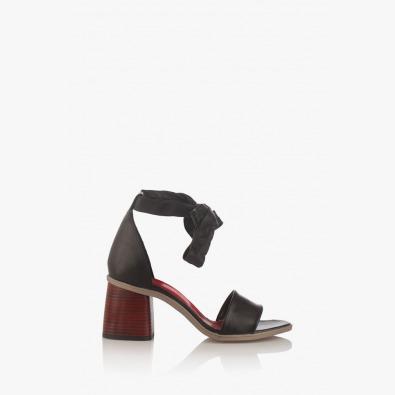 Дамски кожени сандали на ток Теса