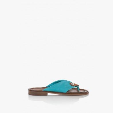 Кожени дамски чехли с аксесоар Слай
