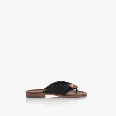 Кожени дамски сандали в черно с перла Слай
