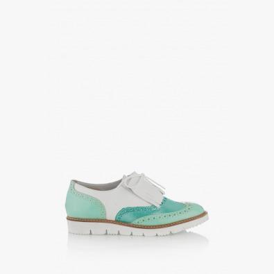 Дамкси кожени обувки в зелено Адисан