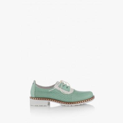 Кожени дамски обувки с щампа в зелено Евелин