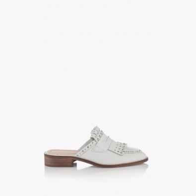Дамски чехли с аксесоари в бяло Виктория