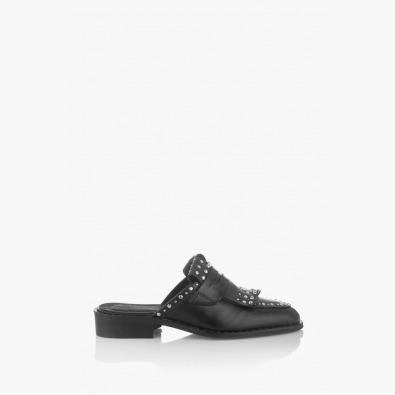Черни дамски чехли с аксесоар Виктория