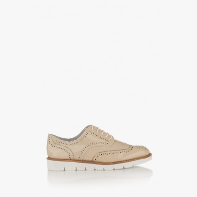 Дамски обувки с перфорация в бежово Адина