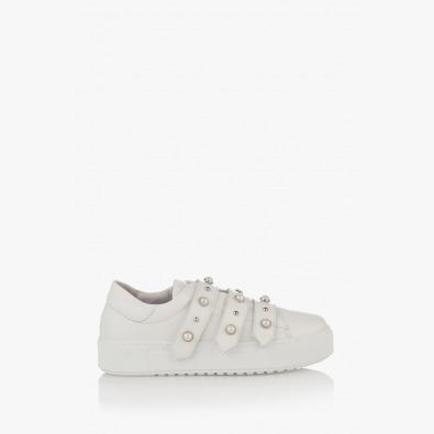 Бели дамски спортни обувки с перли Дейзи