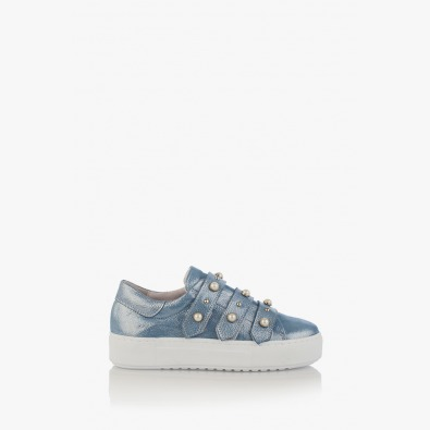 Сини дамски спотрни обувки с перли Дейзи