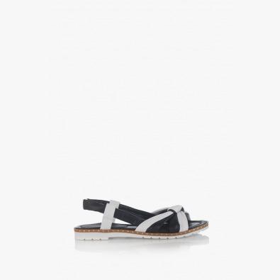 Кожени дамски сандали Рут в черно и бяло