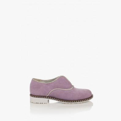 Лилави велурени дамски обувки Анастаси