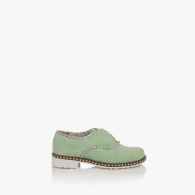 Зелени дамски велурени обувки Анастаси