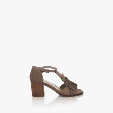 Велурени дамски сандали Айрин цвят таупе