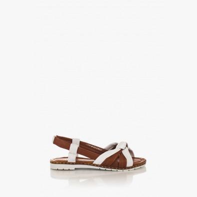 Дамски сандали в бяло и карамел Рут