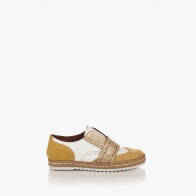 Дамски обувки в комбинация велур и кожа Елла в жълто