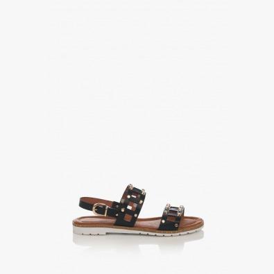 Черни дамски сандали с капси Аманда